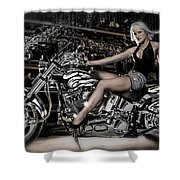 Female Model With A Motorcycle Shower Curtain