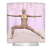 Female Musculature Performing Warrior Shower Curtain