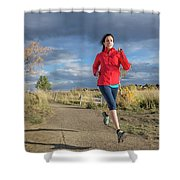 Female Runner In Colorado Shower Curtain