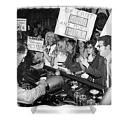 Feminists Protest  Brown's Bar Shower Curtain