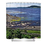 Fence Along Rocky Harbour-nl Shower Curtain
