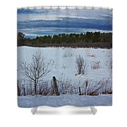 Fence And Snowy Field Shower Curtain