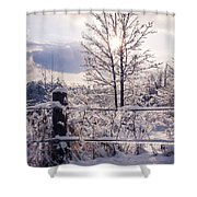 Fence And Tree Frozen In Ice Shower Curtain