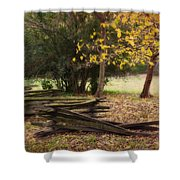 Fence And Tree In Autumn Shower Curtain