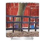 Fence Full Of Buckets Shower Curtain