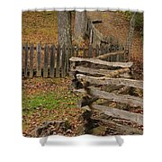 Fence In Autumn Shower Curtain