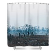 Fence In The Fog Shower Curtain