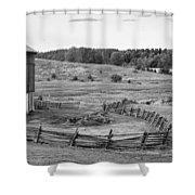 Fence Line Monochrome Shower Curtain