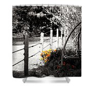 Fence Near The Garden Shower Curtain by Julie Hamilton