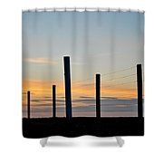 Fence Posts At Sunset Shower Curtain