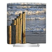 Fence Posts Into The Sea Shower Curtain