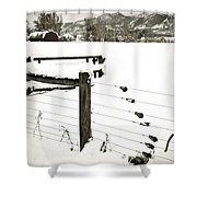 Fence Pulls In Winter Shower Curtain