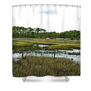 Fence Thru The Marsh Shower Curtain