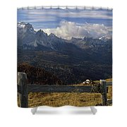 Fence With A Mountain Range Shower Curtain