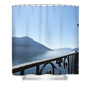 Fence With Street Lamp Shower Curtain
