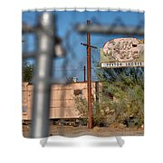 Fenced In  Abandoned 1950's Motel Trailer Shower Curtain