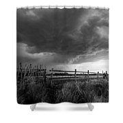 Fenced In - Western Oklahoma Scene In Black And White Shower Curtain