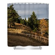 Fenced In Warm Autumn Light Shower Curtain