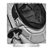 Fencing - Fencing Mask And Sword Shower Curtain