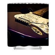 Fender Stratocaster In Blue Shower Curtain