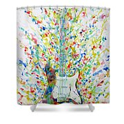 Fender Stratocaster - Watercolor Portrait Shower Curtain