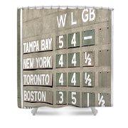Fenway Park Al East Scoreboard Standings Shower Curtain