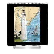Fenwick Island Lighthouse De Nautical Chart Map Art Cathy Peek Shower Curtain