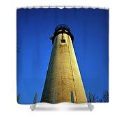Fenwick Island Lightouse And Blue Sky Shower Curtain