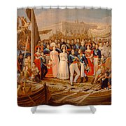 Ferdinand Vii Disembarking In The Port Of Santa Maria, 19th Century Oil On Canvas Shower Curtain