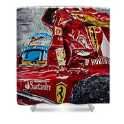 Fernando Alonso And Ferrari F10 Shower Curtain