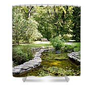 Fernwood Botanical Garden Frog Pond With Bench Niles Michigan Us Shower Curtain
