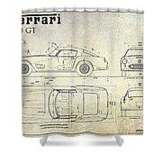 Ferrari 250 Gt Blueprint Antique Shower Curtain