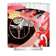 Ferrari Cockpit Monterey Watercolor Shower Curtain