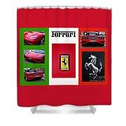 Ferrari Collage On Italian Flag Shower Curtain