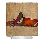 Ferrari Enzo 2004 Classic Car Watercolor On Worn Distressed Canvas Shower Curtain