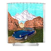 1969 Ferrari 365 G T C In The Mountains 1969 365 G T C Shower Curtain
