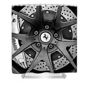 Ferrari Wheel Emblem - Brake Emblem -0430bw Shower Curtain
