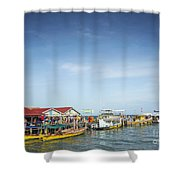 Ferries At Koh Rong Island Pier In Cambodiaferries At Koh Rong I Shower Curtain