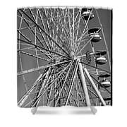 Ferris Wheel In Black And White Shower Curtain