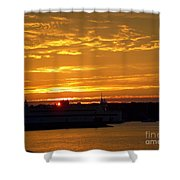 Ferry At Sunset Shower Curtain