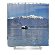 Ferry Boat On An Alpine Lake Shower Curtain