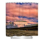 Ferry Dockside At Cold Bay Shower Curtain