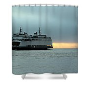 Ferry Sealth In The Fog Shower Curtain
