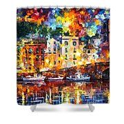 Few Boats - Palette Knife Oil Painting On Canvas By Leonid Afremov Shower Curtain