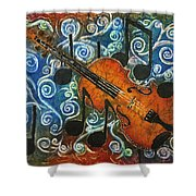 Fiddle 1 Shower Curtain by Sue Duda