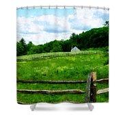 Field Near Weathered Barn Shower Curtain