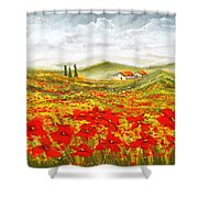 Field Of Dreams - Poppy Field Paintings Shower Curtain