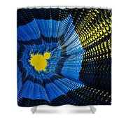 Field Of Force - Yellow Blue And Black Abstract Fractal Art Shower Curtain by Matthias Hauser