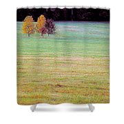 Field With Four Trees Shower Curtain
