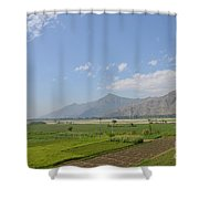 Fields Mountains Sky And A River Swat Valley Pakistan Shower Curtain